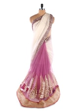 Pink ,Cream Jacquard &  Net Foil Print Heavy Border Saree - Suchi Fashion