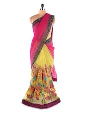 Pink ,Lime Chiffon Print &  Embroidery Saree - Suchi Fashion