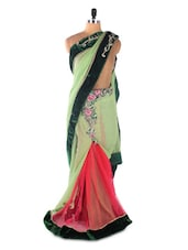 Green &  Red Chiffon Heavy Embroidery One Minute Wrap Designer Saree - Suchi Fashion