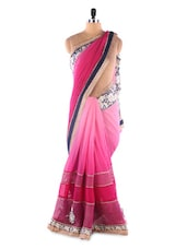 Pink Shaded Weightless Georgette With Heavy Embroidery Party Wear Saree - Suchi Fashion
