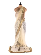 Light Yellow Net Butti &  Heavy Border Saree With Designer Blouse &  Inner - Suchi Fashion