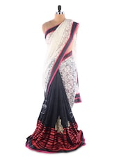 Black ,White Brasso &  Net Heavy Embroidery Party Wear Saree - Suchi Fashion