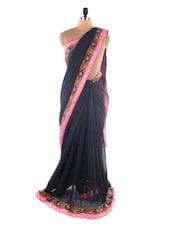 Black Chiffon Heavy Embroidery Border Saree - Suchi Fashion