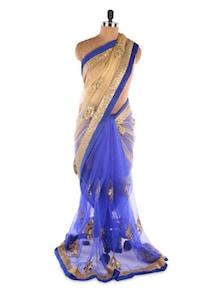 Priyanka Chopra Beige &  Blue Net Heavy Embroidery Designer Bollywood Replica Saree - Suchi Fashion