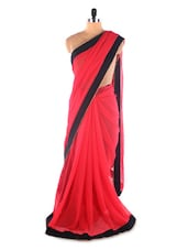 Red &  Black Simple Georgette Saree With Heavy Embroidery &  H&  Work Designer Blouse Bollywood Replica Saree - Suchi Fashion