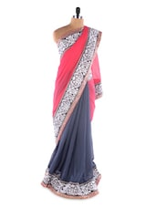 Grey &  Pink Heavy Embroidery Border Chiffon Designer Bollywood Replica Saree - Suchi Fashion