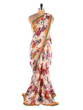 White Georgette Printed Saree With Lace Border - Suchi Fashion