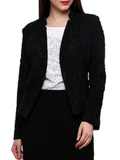 Black Full Sleeved Quilted Blazer - By