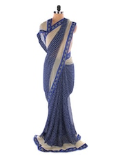 Blue Georgette Printed Saree With Lace Border - Suchi Fashion