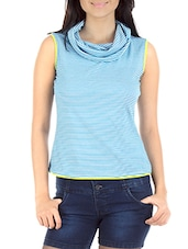 Sky Blue N White Striped Sleeveless Cowl Pullover - By