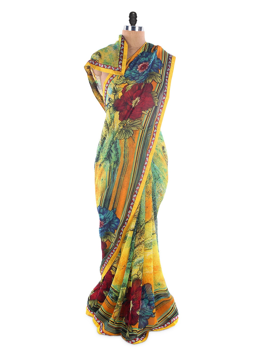 Yellow Weightless Georgette Printed Saree With Lace Border - Suchi Fashion