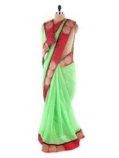 Green Saree With Red Embroidered  Border Saree - Suchi Fashion