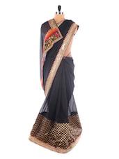 Jet Black Heavy Border Saree - Suchi Fashion