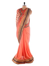 Carrot Pink Heavy Bordered Saree - Suchi Fashion