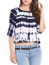 Blue Cotton Printed Three Quarter Sleeved Top -  online shopping for Tops