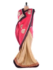Chiffon& Art Silk Half &  Half Saree - Suchi Fashion