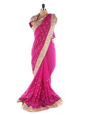 Pink Chiffon Embroidery Booti Work Saree - Suchi Fashion