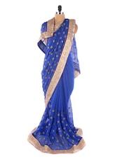 Blue Chiffon Embroidery Booti Work Saree - Suchi Fashion