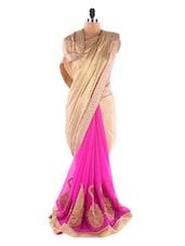 Beige& Pink Crepe &  Chiffon Heavy Patli Saree - Suchi Fashion