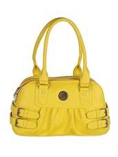 Solid Yellow Leatherette Handbag - By