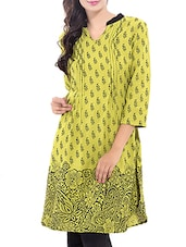 Green Rayon Printed Kurta - By