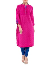 Pink Cotton Pin Tucked Kurti - By