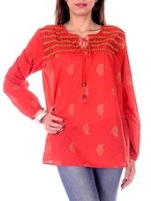Red Cotton Paisley Printed Top - By