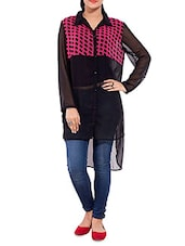 Black Georgette Polka Dotted Top - By