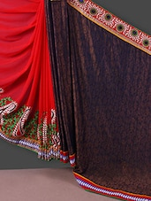 Red And Navy Blue Embroidered Chiffon Saree - Manvaa