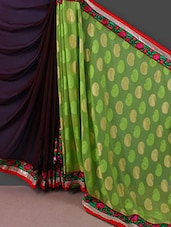 Multicoloured Chiffon Embroidered Saree - Manvaa
