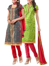 Set Of 2 Green And Grey Embroidered Unstitched Suit Set - By