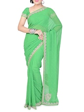 Lime Green Faux Georgette Embellished Saree - By