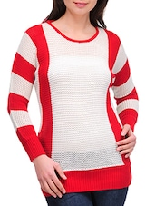 Red And White Pullover With Striped Sleeves - By