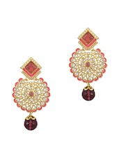 Peach N White Embellished Drop Earrings - By