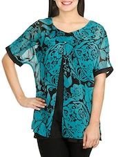 Blue N Black Printed Layered Top - By
