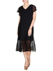 Black Midi Dress With Ruffled Sleeves - By