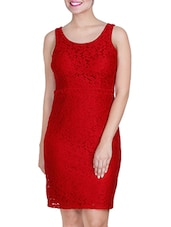 Red Sleeveless Bodycon Dress - By