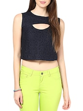 Navy Blue Net Cut-Out Crop Top -  online shopping for Tops