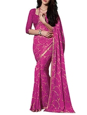 Pink Floral Georgette Saree - By