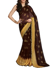 Black And Gold Printed Saree - By