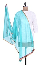 Turquoise Shimmer Dupatta With Multicolored Border - By