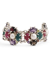 925 Sterling Silver Semi-precious Gemstones And Pearl Embellished Bracelet - By
