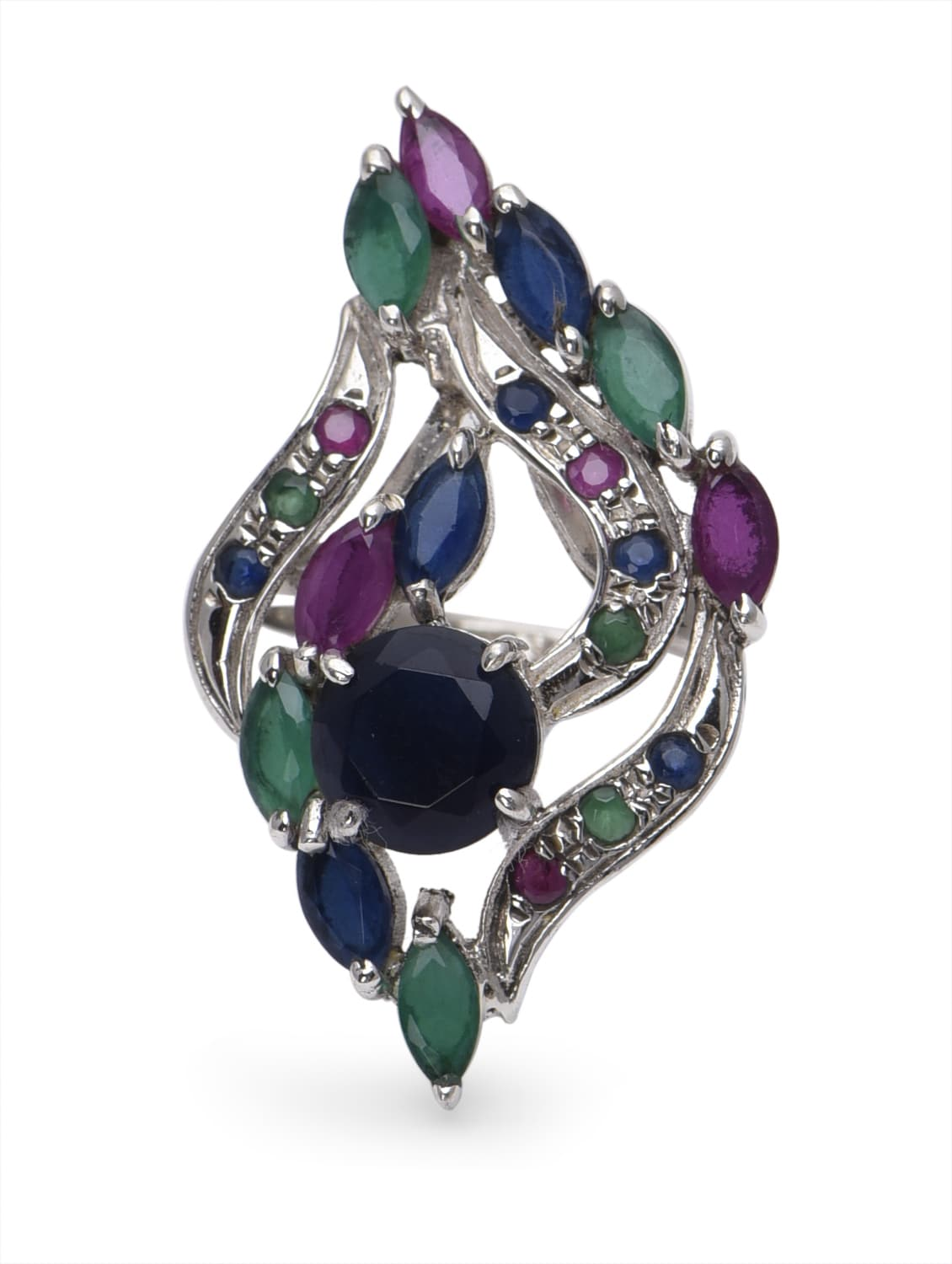 multicoloured precious stones embellished sterling silver