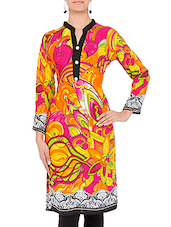Multicolored Printed Full Sleeved Rayon Kurta - By