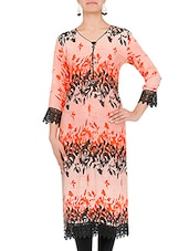 Peach Printed Rayon Kurta With Lace Details - By