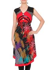 Black And Red Printed Rayon Asymmetrical Kurta - By