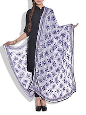 White Phulkari Embroidered Dupatta - By