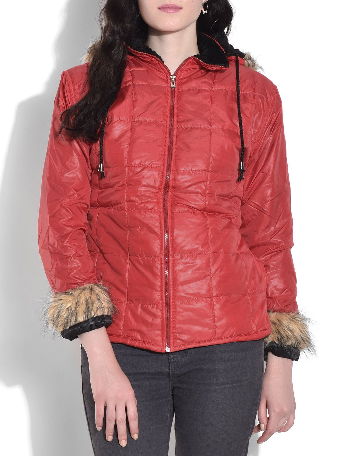 Red Quilted Jacket With Hood - By