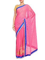Pink Embroidered Georgette Chiffon Saree - By