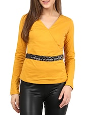 Mustard Cotton Top With Sequined Belt - By